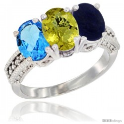 14K White Gold Natural Swiss Blue Topaz, Lemon Quartz & Lapis Ring 3-Stone 7x5 mm Oval Diamond Accent