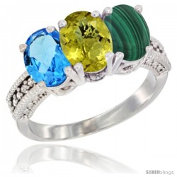 14K White Gold Natural Swiss Blue Topaz, Lemon Quartz & Malachite Ring 3-Stone 7x5 mm Oval Diamond Accent