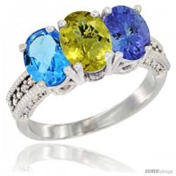 14K White Gold Natural Swiss Blue Topaz, Lemon Quartz & Tanzanite Ring 3-Stone 7x5 mm Oval Diamond Accent