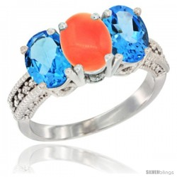 14K White Gold Natural Coral & Swiss Blue Topaz Sides Ring 3-Stone 7x5 mm Oval Diamond Accent