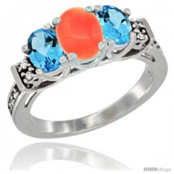 14K White Gold Natural Coral & Swiss Blue Topaz Ring 3-Stone Oval with Diamond Accent