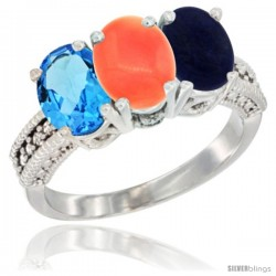 14K White Gold Natural Swiss Blue Topaz, Coral & Lapis Ring 3-Stone 7x5 mm Oval Diamond Accent
