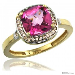 14k Yellow Gold Diamond Pink Topaz Ring 2.08 ct Checkerboard Cushion 8mm Stone 1/2.08 in wide