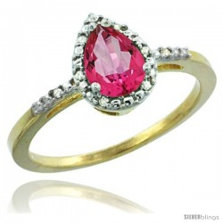 14k Yellow Gold Diamond Pink Topaz Ring 0.59 ct Tear Drop 7x5 Stone 3/8 in wide
