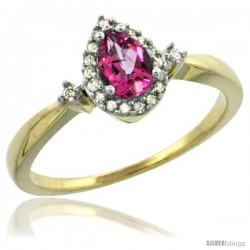 14k Yellow Gold Diamond Pink Topaz Ring 0.33 ct Tear Drop 6x4 Stone 3/8 in wide