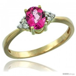 14k Yellow Gold Ladies Natural Pink Topaz Ring oval 7x5 Stone Diamond Accent