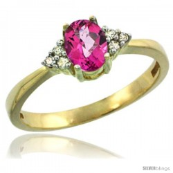 14k Yellow Gold Ladies Natural Pink Topaz Ring oval 6x4 Stone Diamond Accent
