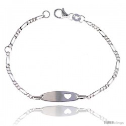 Sterling Silver Figaro Link Baby ID Bracelet w/ Heart Cut-Out