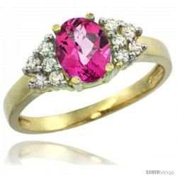 14k Yellow Gold Ladies Natural Pink Topaz Ring oval 8x6 Stone Diamond Accent