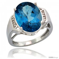 Sterling Silver Diamond Natural London Blue Topaz Ring 9.7 ct Large Oval Stone 16x12 mm, 5/8 in wide