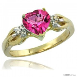 14k Yellow Gold Ladies Natural Pink Topaz ring Heart shape 7x7 Stone Diamond Accent