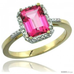 14k Yellow Gold Ladies Natural Pink Topaz Ring Emerald-shape 8x6 Stone Diamond Accent