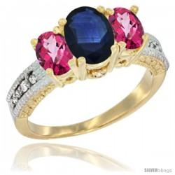 14k Yellow Gold Ladies Oval Natural Blue Sapphire 3-Stone Ring with Pink Topaz Sides Diamond Accent