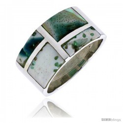 "Sterling Silver Rectangular Flat Band, w/Blue-Green Mother of Pearl Inlay, 1/2"" (13 mm) wide"