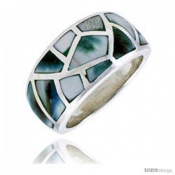 "Sterling Silver Dome Band, w/Blue-Green Mother of Pearl Inlay, 9/16"" (14 mm) wide"