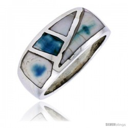 "Sterling Silver Fancy Band, w/Blue-Green Mother of Pearl Inlay, 7/16"" (11 mm) wide"