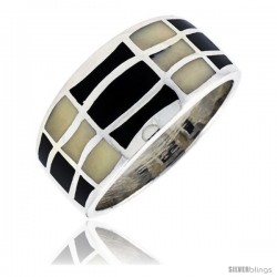 "Sterling Silver Striped Band, w/Black & White Mother of Pearl Inlay, 1/2"" (12 mm) wide"