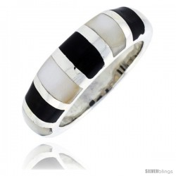 "Sterling Silver Striped Band, w/Black & White Mother of Pearl Inlay, 5/16"" (8 mm) wide"