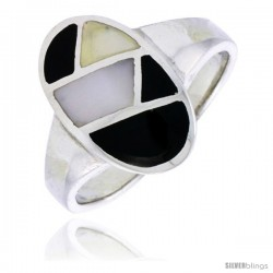 "Sterling Silver Oval Shell Ring, w/Black & White Mother of Pearl Inlay, 11/16"" (17 mm) wide"