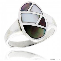 "Sterling Silver Oval Shell Ring, w/Colorful Mother of Pearl Inlay, 11/16"" (17 mm) wide"
