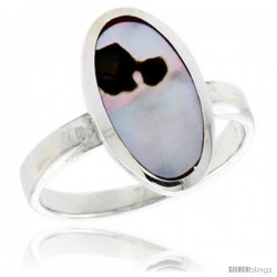 "Sterling Silver Oval Shell Ring, w/Brown & White Mother of Pearl Inlay, 11/16"" (17 mm) wide"