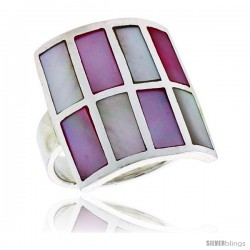"Sterling Silver Square-shaped Shell Ring, w/Pink & White Mother of Pearl Inlay, 15/16"" (24 mm) wide"