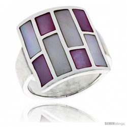 "Sterling Silver Square-shaped Shell Ring, w/Pink & White Mother of Pearl Inlay, 7/8"" (22 mm) wide"