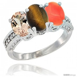 14K White Gold Natural Morganite, Tiger Eye & Coral Ring 3-Stone Oval 7x5 mm Diamond Accent