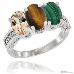 14K White Gold Natural Morganite, Tiger Eye & Malachite Ring 3-Stone Oval 7x5 mm Diamond Accent