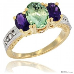 10K Yellow Gold Ladies Oval Natural Green Amethyst 3-Stone Ring with Amethyst Sides Diamond Accent