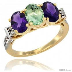 10K Yellow Gold Natural Purple & Green Amethysts Ring 3-Stone Oval 7x5 mm Diamond Accent