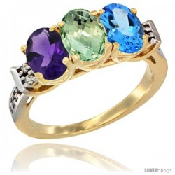 10K Yellow Gold Natural Amethyst, Green Amethyst & Swiss Blue Topaz Ring 3-Stone Oval 7x5 mm Diamond Accent