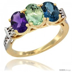 10K Yellow Gold Natural Amethyst, Green Amethyst & London Blue Topaz Ring 3-Stone Oval 7x5 mm Diamond Accent