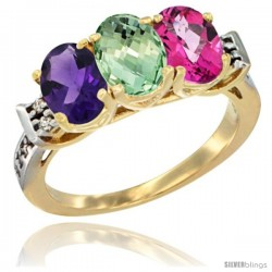 10K Yellow Gold Natural Amethyst, Green Amethyst & Pink Topaz Ring 3-Stone Oval 7x5 mm Diamond Accent