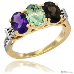 10K Yellow Gold Natural Amethyst, Green Amethyst & Smoky Topaz Ring 3-Stone Oval 7x5 mm Diamond Accent