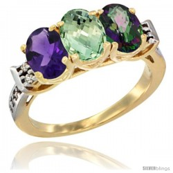 10K Yellow Gold Natural Amethyst, Green Amethyst & Mystic Topaz Ring 3-Stone Oval 7x5 mm Diamond Accent
