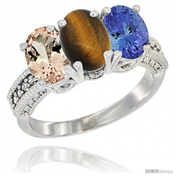 14K White Gold Natural Morganite, Tiger Eye & Tanzanite Ring 3-Stone Oval 7x5 mm Diamond Accent