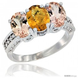 14K White Gold Natural Whisky Quartz & Morganite Sides Ring 3-Stone Oval 7x5 mm Diamond Accent