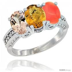 14K White Gold Natural Morganite, Whisky Quartz & Coral Ring 3-Stone Oval 7x5 mm Diamond Accent