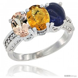 14K White Gold Natural Morganite, Whisky Quartz & Lapis Ring 3-Stone Oval 7x5 mm Diamond Accent