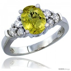 10K White Gold Natural Lemon Quartz Ring Oval 9x7 Stone Diamond Accent