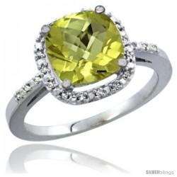 10K White Gold Natural Lemon Quartz Ring Cushion-cut 8x8 Stone Diamond Accent