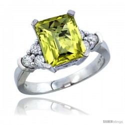 10K White Gold Natural Lemon Quartz Ring Emerald-shape 9x7 Stone Diamond Accent