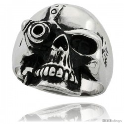 Surgical Steel Biker Ring Cyborg Skull 9/16 in wide