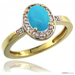 10k Yellow Gold Diamond Sleeping Beauty Turquoise Ring 1 ct 7x5 Stone 1/2 in wide