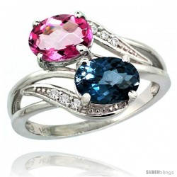 14k White Gold ( 8x6 mm ) Double Stone Engagement London Blue & Pink Topaz Ring w/ 0.07 Carat Brilliant Cut Diamonds & 2.34