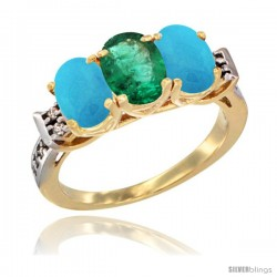 10K Yellow Gold Natural Emerald & Turquoise Sides Ring 3-Stone Oval 7x5 mm Diamond Accent