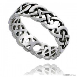 Sterling Silver Celtic Knot Wedding Band / Thumb Ring, 1/4 in wide