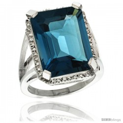 Sterling Silver Diamond Natural London Blue Topaz Ring 14.96 ct Emerald Shape 18x13 mm Stone, 13/16 in wide