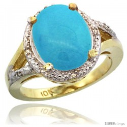 10k Yellow Gold Ladies Natural Turquoise Ring oval 12x10 Stone